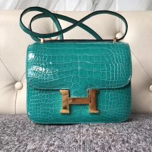 Luxury Hermes 6O Vert Emperor Shiny Crocodile Constance Bag18CM Gold Hardware