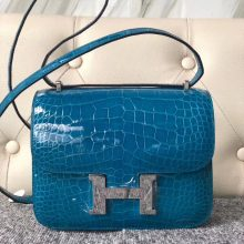 Wholesale Hermes Shiny Crocodile Constance Bag18CM in 7W Blue Izmir Silver Hardware