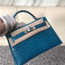 Stock Hermes 7W Blue Izmir Shiny Crocodile Minikelly-2 Evening Clutch Bag