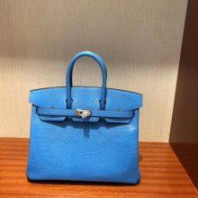 Stock Hermes 7Q Blue Mykonos Shiny Lizard Birkin Bag25CM Silver Hardware