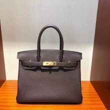 Stock Hermes Chocolate Togo Calf Birkin Tote Bag30CM Gold Hardware
