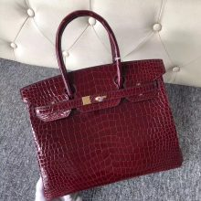 Customize Hermes F5 Rouge Bourgogne Shiny Crocodile Birkin30cm Bag Gold Hardware