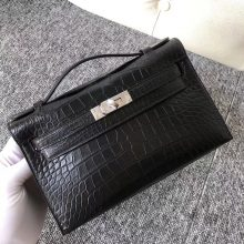 Wholesale Hermes CK89 Noir Matt Crocodile Minikelly Clutch Bag Evening Bag22cm