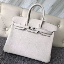 Noble Hermes Togo Calf Birkin Bag25CM in 8L Beton White Silver Hardware