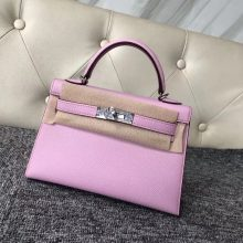 Pretty Hermes Epsom Calf Minikelly-2 Clutch Bag in X9 Mauve Sylvestre Silver Hardware