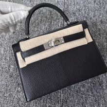Stock Hermes CK89 Noir Chevre Leather Minikelly-2 Evening Bag Silver Hardware