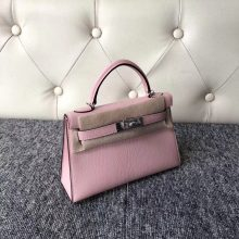 Stock Hermes 3Q New Pink Chevre Leather Minikelly-2 Clutch Bag Silver Hardware