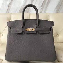Wholesale Hermes 8F Gris Etain Togo Calf Birkin Bag25cm Gold Hardware