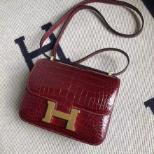 Stock Hermes Alligator Crocodile Constance Bag19CM in F5 Rouge Bourgogne Gold Hardware