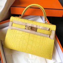Discount Hermes M9 Yellow Matt Crocodile Leather Minikelly-2 Clutch Bag19cm