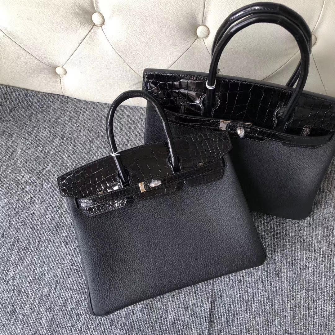 Luxury Hermes CK89 Noir Shiny Crocodile/Togo Leather Birkin Bag25CM Rose Gold Hardware
