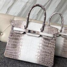 Noble Hermes Himalaya Crocodile Leather Birkin Bag30CM Silver Hardware