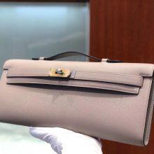 Sale Hermes Epsom Calf Kelly Cut Clutch Bag in M8 Gris Ashpite Gold Hardware