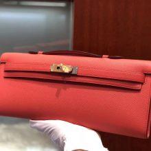 Pretty Hermes T5 Rose Peach Epsom Calf Kelly Cut Women's Clutch Bag Gold Hardware