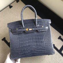 Luxury Hermes N7 Blue Tempete Shiny Alligator Crocodile Birkin25cm Bag Gold Hardware