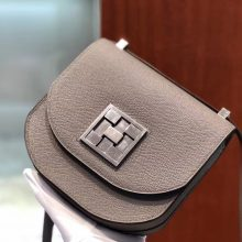 Fashion Hermes 8F Gris Etain Epsom Calf Mosaique17CM Shoulder Bag Silver Hardware