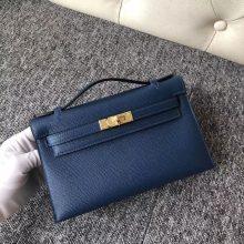 Wholesale Hermes Minikelly Pochette 22CM S4 Deep Blue Epsom Calf Gold Hardware