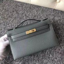 New Arrival Hermes CK63 Vert Apricot Epsom Calf Minikelly Clutch Bag22CM Gold Hardware