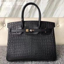 Customize Hermes CK89 Noir Matt Nilo Crocodile Birkin Bag30cm Gold Hardware
