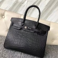 Discount Hermes Matt Crocodile Birkin30cm Bag CK89 Noir Black Hardware