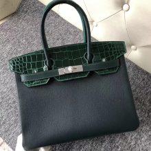 Stock Hermes Eight-color Shiny Crocodile/Togo Leather Birkin30CM Bag Silver Hardware