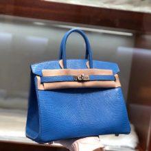 Fashion Hermes 7Q Blue Mykonos Shiny Lizard Birkin Bag25CM Silver Hardware