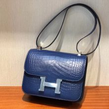 Customize Hermes Blue Brighton Matt Crocodile Constance23CM Shoulder Bag Silver Hardware