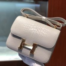Customize Hermes Matt Crocodile Constance Bag23CM in Gris Pearl Gold Hardware