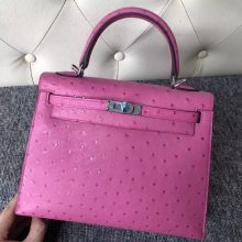 Stock Hermes KK Ostrich Kelly Bag25CM in 9I Rose Magnolia Silver Hardware