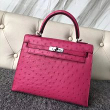 Pretty Hermes Hot Pink KK Ostrich Kelly Tote Bag25CM Silver Hardware