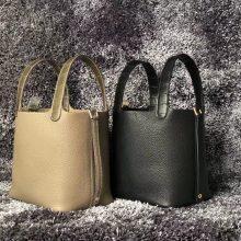 New Hermes Grey/Black Clememce Mix Crocodile Leather Picotin18CM Tote Bag