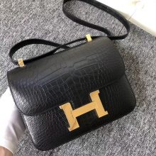 Customize Hermes Matt Alligator Crocodile Constance23CM Bag in CK89 Black Gold Hardware