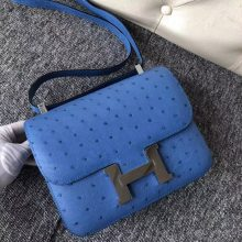 Customize Hermes 7Q Blue Mykonos KK Ostrich Constance Bag23CM Silver Hardware
