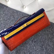 Luxury Hermes Multi-color Shiny Crocodile Kelly Cut31cm Clutch Bag Gold Hardware