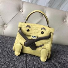 New Hermes 9R Lemon Yellow Matt Crocodile Kelly Doll Bag16cm Silver Hardware