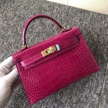 Stock Hermes Shiny Crocodile Minikelly-2 Evening Bag in J5 Rose Scheherazade Gold Hardware