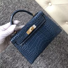 Fashion Hermes 1P Blue Colvert Shiny Crocodile Minikelly-2 Clutch Bag Gold Hardware