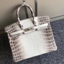 Elegant Hermes Himalaya Crocodile Leather Birkin25cm Women's Bag Silver Hardware