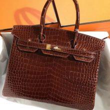 Stock Luxury Hermes CK31 Miel Shiny Crocodile Birkin Bag30CM Gold Hardware