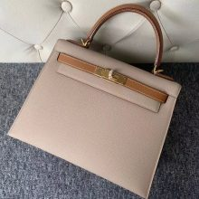 Fashion Hermes S2 Gris Trench/CK37 Gold Epsom Kelly Bag28CM Gold Hardware
