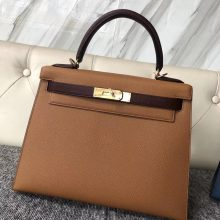 Customize Hermes Epsom Kelly28CM Bag in CK37 Gold/CK57 Bordeaux Gold Hardware
