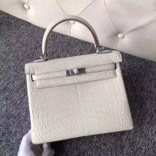 Stock Hermes Matt Crocodile Kelly Bag25cm in 8L Beton White Silver Hardware