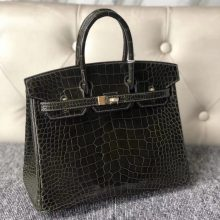 Stock Hermes Vert Olive Shiny Alligator Crocodile Birkin Bag25cm Gold Hardware