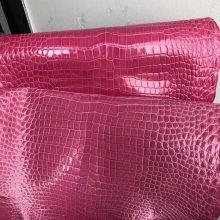 Customize Hermes Birkin/Kelly Bags Rose Peach Shiny Porosus Crocodile Leather