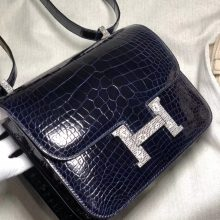 Customize Hermes Blue Saphir Shiny Crocodile Constance23CM Bag Lizard Buckle