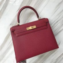 Stock Hermes Epsom Calf Kelly28cm Bag in K1 Rouge Grenade Gold/Silver Hardware