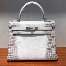 Stock Hermes Himalaya Matt Crocodile Kelly28cm Women's Bag Silver Hardware