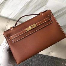 Wholesale Hermes CK37 Gold Bareniz NaturalLeather Minikelly Bag22CM Gold Hardware