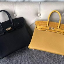 Customize Hermes CK89 Noir & 9D Amber Touch Series Birkin Bag25CM Gold/Silver Hardware