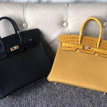 Customize Hermes CK89 Noir & 9D Amber Touch SeriesBirkin Bag25CM Gold/Silver Hardware